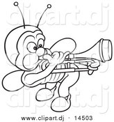 November 7th, 2015: Vector Clipart of a Lineart Bug Playing a Trombone by Dero