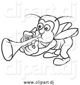April 30th, 2015: Vector Clipart of a Lineart Bug Playing a Trumpet by Dero