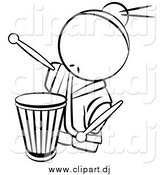 Vector Clipart of a Lineart Chinese Male Drummer by Leo Blanchette