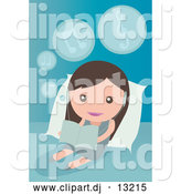 Vector Clipart of a Little Girl Listening to Music and Reading in Bed by Mayawizard101