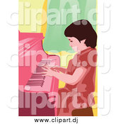 Vector Clipart of a Little Girl Pianist Entertaining by Mayawizard101