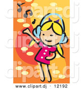 March 3rd, 2016: Vector Clipart of a Little White Blond Girl Dancing and Listening to Music by Mayawizard101