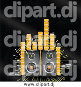 October 2nd, 2014: Vector Clipart of a Loud Stereo Speakers Blaring Music on a Black Background with Orange Equalizer or Volume Lines by Elaineitalia
