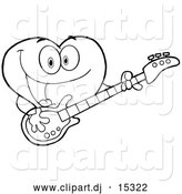 Vector Clipart of a Love Heart Guitarist Cartoon Character Playing a Song with a Guitar - Outlined Version by Hit Toon