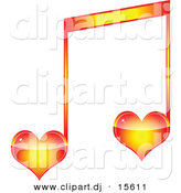 Vector Clipart of a Love Heart Music Note by Andrei Marincas