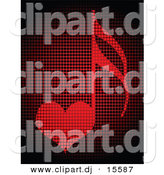 Vector Clipart of a Love Heart Music Note Made out of Red Dots by Andrei Marincas