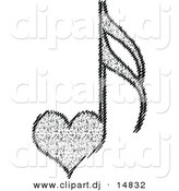 Vector Clipart of a Love Heart Music Notes by Andrei Marincas