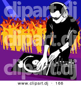 Vector Clipart of a Male DJ Mixing Music While People Dance in the Background by Dero