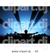Vector Clipart of a Male Dj Playing Music at a Summer Festival by Elaineitalia