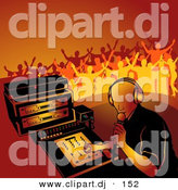 Vector Clipart of a Male DJ Playing Music While Young People Dance in Orange Background by Dero
