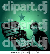 Vector Clipart of a Male DJ Talking Through Microphone at a Party by Dero