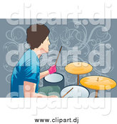 Vector Clipart of a Male Drummer over Vines by Mayawizard101