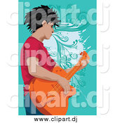 Vector Clipart of a Male Guitarist over Turquoise by Mayawizard101