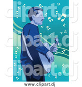 Vector Clipart of a Male Guitarist Playing over Music Notes by Mayawizard101