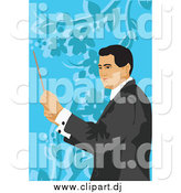 October 16th, 2014: Vector Clipart of a Male Music Conductor over Blue Floral by Mayawizard101