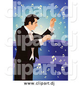 Vector Clipart of a Male Music Conductor over Blue with Notes by Mayawizard101