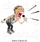 Vector Clipart of a Male Rock Star Singing and Performing During a Concert by AtStockIllustration