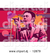 Vector Clipart of a Male Singer and Abstract Background by Mayawizard101