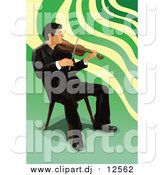 Vector Clipart of a Male Violinist Sitting and Playing by Mayawizard101