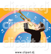 Vector Clipart of a Man Playing a Trumpet Against Orange, Pink and Blue Music Note Arches by Mayawizard101