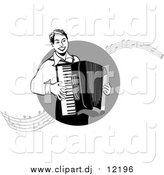 October 15th, 2015: Vector Clipart of a Man Playing an Accordian with Music Notes by Inkgraphics