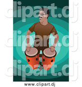 May 12nd, 2015: Vector Clipart of a Man Playing Conga Drums by Mayawizard101