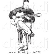 Vector Clipart of a Man Playing Guitar While Sitting in Chair - Black and White Pencil Sketch Art by Any Vector