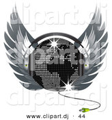 Vector Clipart of a Map Disco Ball Wearing Headphones and Wings by Elaineitalia