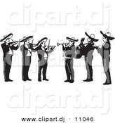 Vector Clipart of a Mariachi Band Playing Violins, Trumpets and Guitars in Mexico - Black and White Version by David Rey