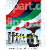 Vector Clipart of a Mariachi Band Under Mexican Banners by David Rey