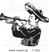 Vector Clipart of a Mariachi Man Wearing a Sombrero While Playing a Trumpet - Black and White Version by David Rey