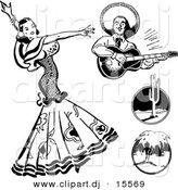 Vector Clipart of a Mexican Flaminco Dancer - Digital Collage - Retro Black and White Version by BestVector