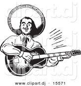 Vector Clipart of a Mexican Mariachi Guitarist Playing Music - Retro Black and White Version by BestVector