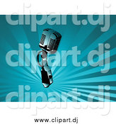 Vector Clipart of a Microphone over a Background of Blue Rays by KJ Pargeter