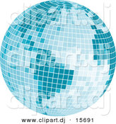 Vector Clipart of a Mosaic Blue Disco Ball Earth by Character Market