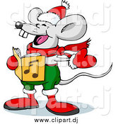 Vector Clipart of a Mouse Singing Christmas Carols on Xmas Eve by Holger Bogen