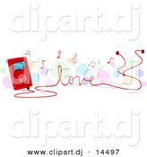 Vector Clipart of a MP3 Player Tuning Love Songs by BNP Design Studio