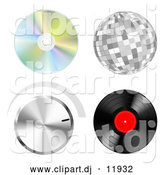 Vector Clipart of a Music Cd, Disco Ball, Volume Dial, Vinyl Record by Oligo