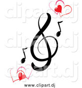 Vector Clipart of a Music Clef and Red Hearts by Pams Clipart