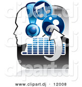 Vector Clipart of a Music Icon Featuring a Person Wearing Headphones, Arrows, Equalizer, and Music Notes by Alexia Lougiaki