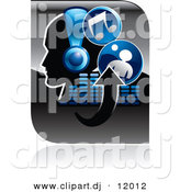 Vector Clipart of a Music Icon of a Person Wearing Headphones, Arrows, Equalizer, and Music Notes - Blue and Black Version by Alexia Lougiaki