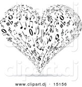 Vector Clipart of a Music Note Love Heart - Black and White by Andrei Marincas
