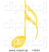 Vector Clipart of a Music Note Made out of Cheese by Andrei Marincas