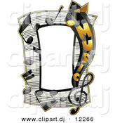 Vector Clipart of a Music Notes Frame Border Design by BNP Design Studio