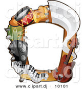 Vector Clipart of a Musical Instruments Border Frame Design by BNP Design Studio
