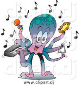 Vector Clipart of a Musician Octopus Playing a Keyboard, Maraca, Tambourine, and Triangle by Dennis Holmes Designs