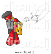 Vector Clipart of a Musician Red Man Playing Jazz with a Saxophone by Leo Blanchette