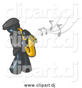 June 7th, 2015: Vector Clipart of a Navy Blue Man Playing Jazz with a Saxophone by Leo Blanchette