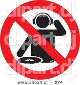 Vector Clipart of a No DJs Allowed Sign by Any Vector