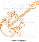 Vector Clipart of a Orange Floral Guitar Tilted by Vector Tradition SM